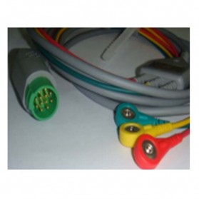 Cable Completo ECG, 12 Pin, 3 leads, Kontron