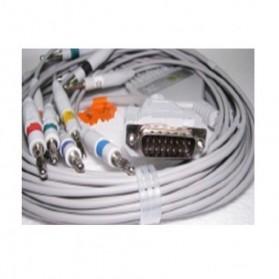 Cable EKG, 15 Pin. Conector con tornillo fijo, 10 leads, Nihon Kohden