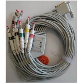 Cable EKG, 15 Pin. Conector con tornillo fijo, 10 leads, HP / Phillips